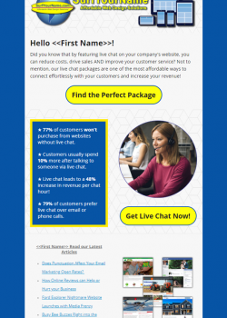 Live Chat Promotion Email