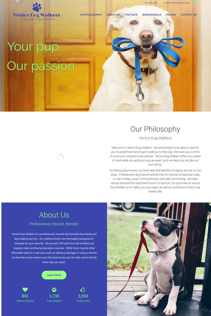 Small Business Dog Walker Website - Website Development - Custom Site Design