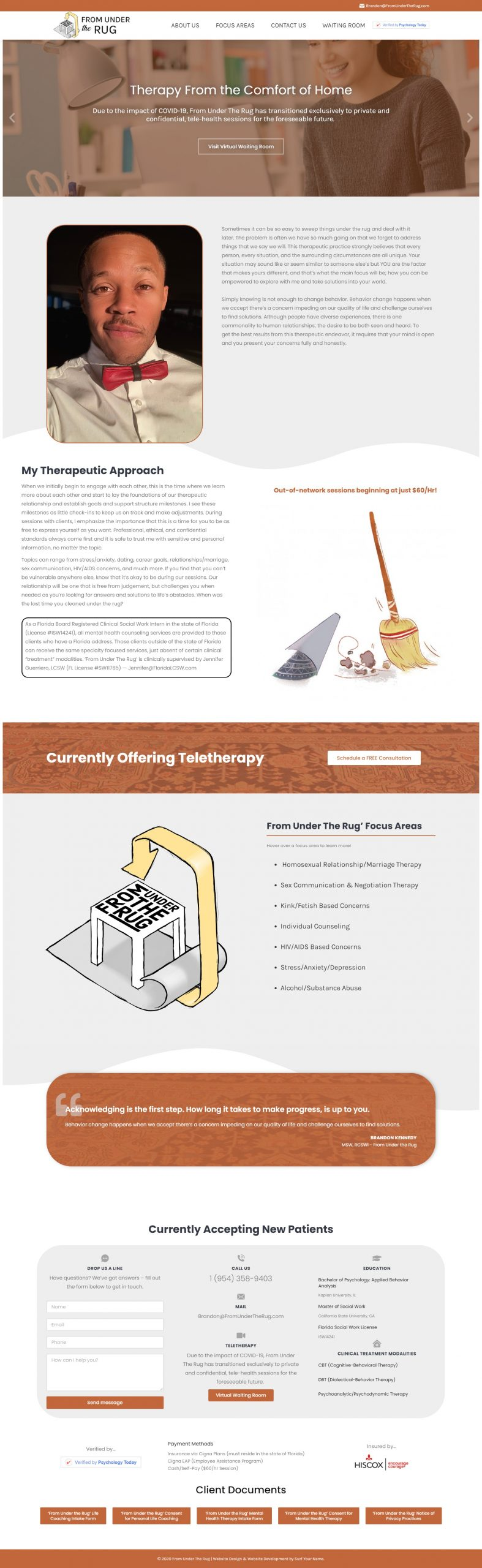 From Under the Rug - Custom WordPress Website - Elementor Website - Norfolk Web Design
