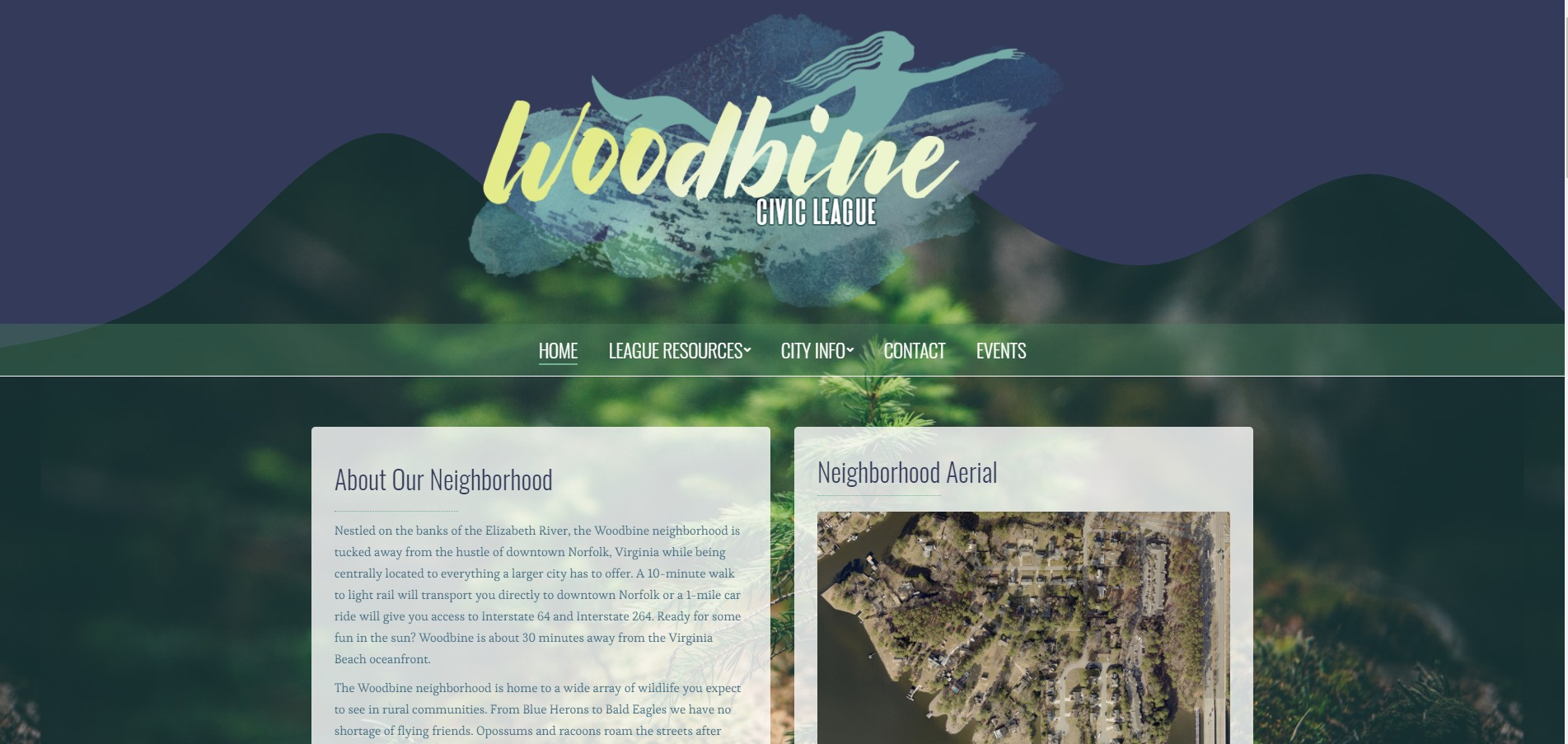 Woodbine Civic League - Custom WordPress - Virginia Web Design - Norfolk Web Development