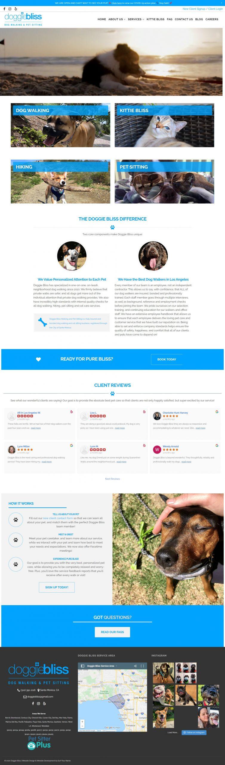 Doggie Bliss - Custom WordPress Website - Norfolk Web Design - Virginia Web Development