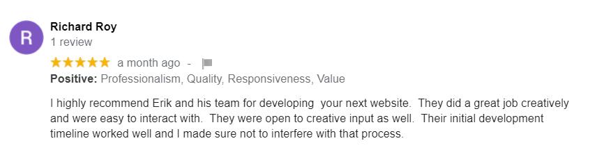 Norfolk VA Web Developer - Local Web Developer - Web Developer Google Review